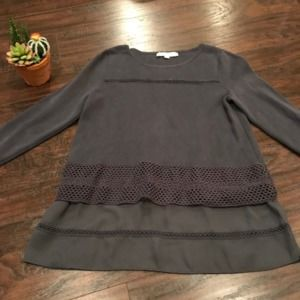 LOFT charcoal layered textured thermal blouse